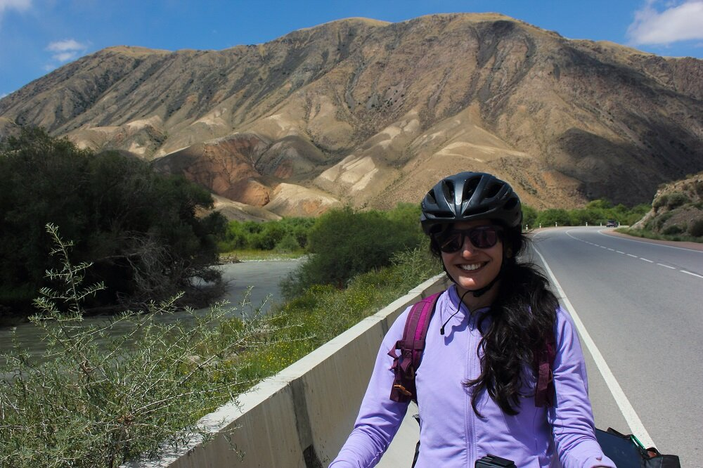 Starting my cycling journey on the right note. Look at the mountains behind me.