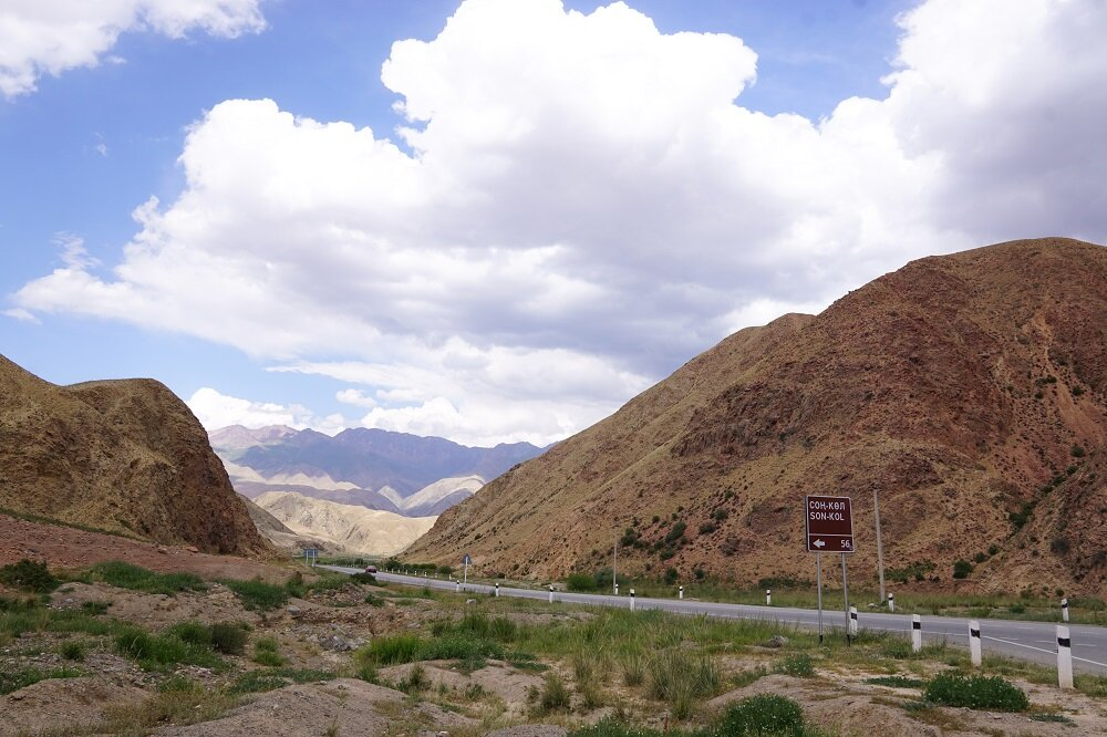 The mountain climb to Song Kul begins