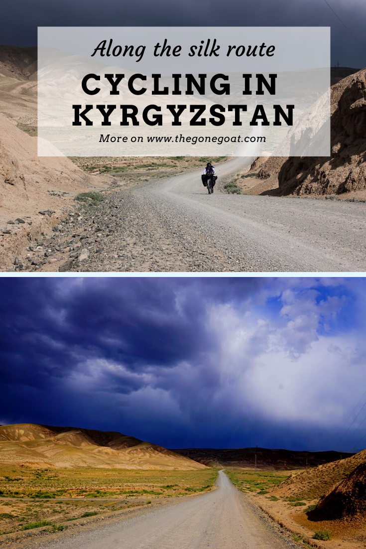 Rugged mountains, fierce deserts and the romance of the Silk Road was enough to convince me many moons ago that I wanted to bicycle tour these vast and traverse lands in a forgotten territory of Asia. Here's a trip report of what's it like to go cycling in Central Asia, Kyrgyzstan along the silk route. #bicycletouring #adventure #centralasia #cycling #traveldestinations #travel #travelideas #asia #solotrip #solotraveldestinations