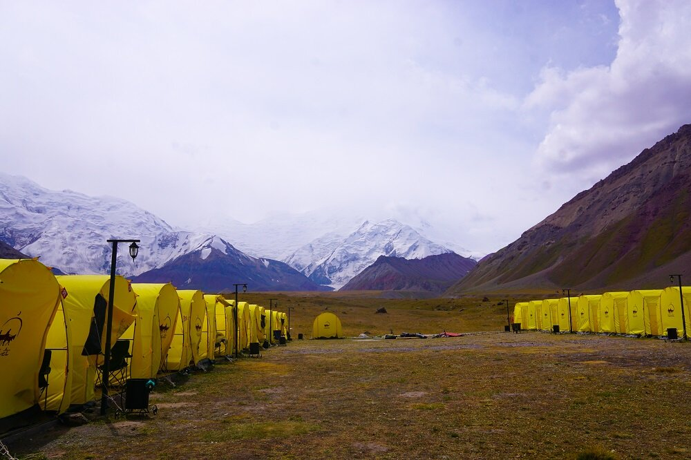 How great it is to have 21st century comforts as you look ahead at the Lenin Peak? The most comfortable tents we were invited to.