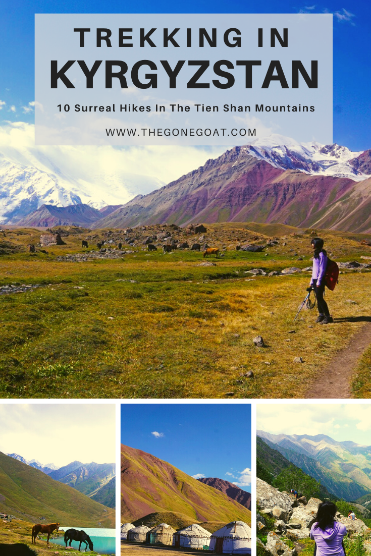 Trekking in Kyrgyzstan in the shadow of the Tien Shan mountains takes you to places at the edge of civilization where nomadic herdsmen traverse mountains and valleys to trade goods. Here are the 10 surreal hikes to experience in Kyrgyzstan along the silk road. #Silkroad #Trekking #Hiking #Kyrgyzstan #CentralAsia #Mountains #Adventure #TripIdeas #HikingDestinations #TravelDestinations #Asia