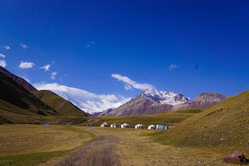 En route to Lenin Peak Base Camp on a trek or climb in Central Asia.