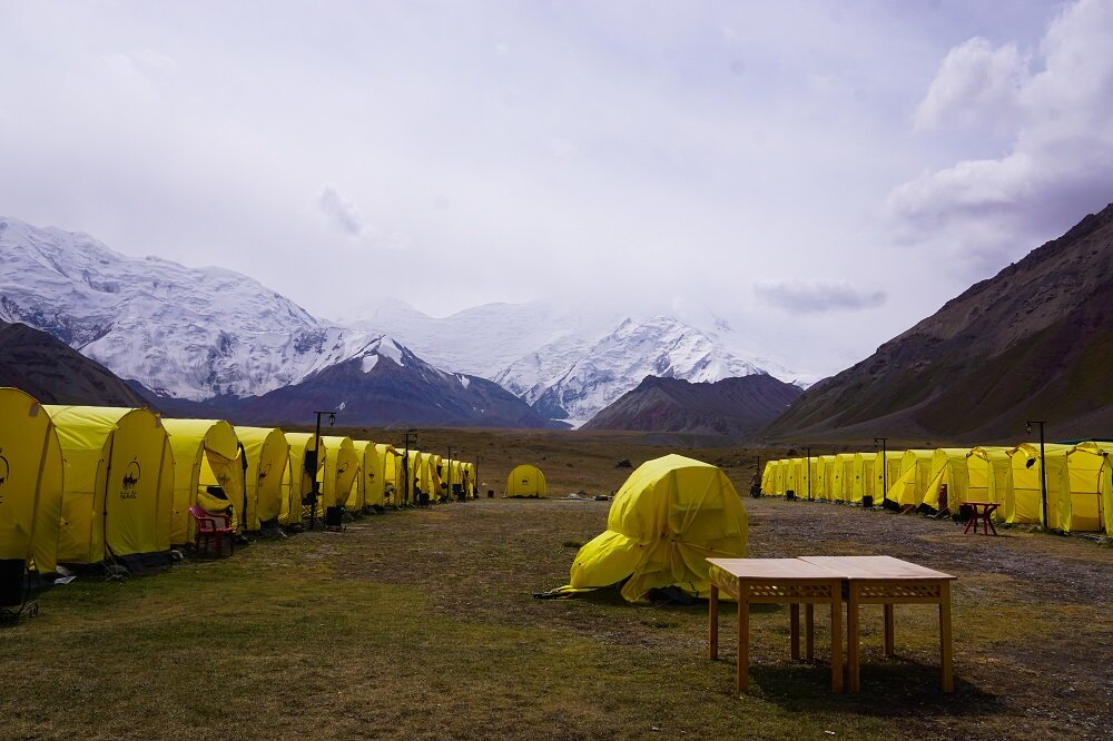21st century life right here in this remote corner of the world at the Lenin Peak Base Camp.