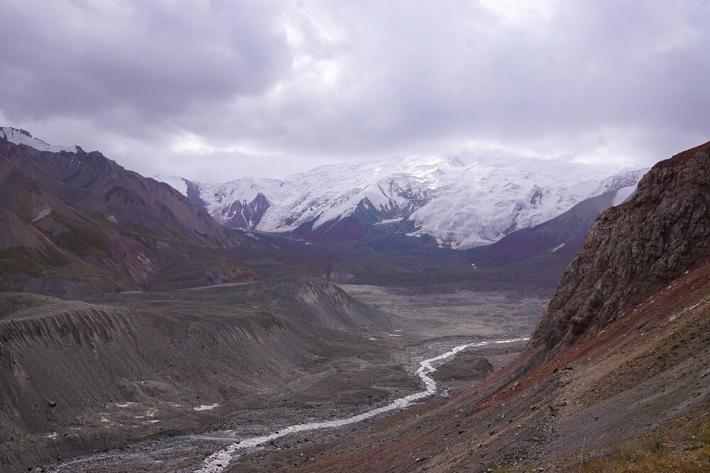 Glaciers, rivers and the mighty Lenin Peak towering in the horizon.