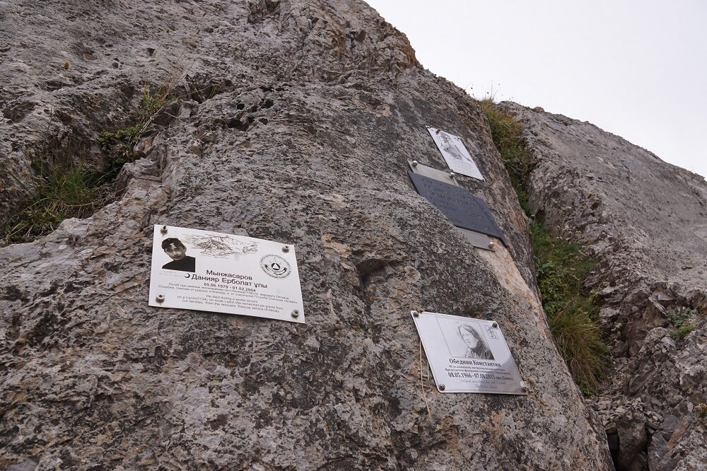 A memorial of lives lost at the Lenin Peak Base Camp.