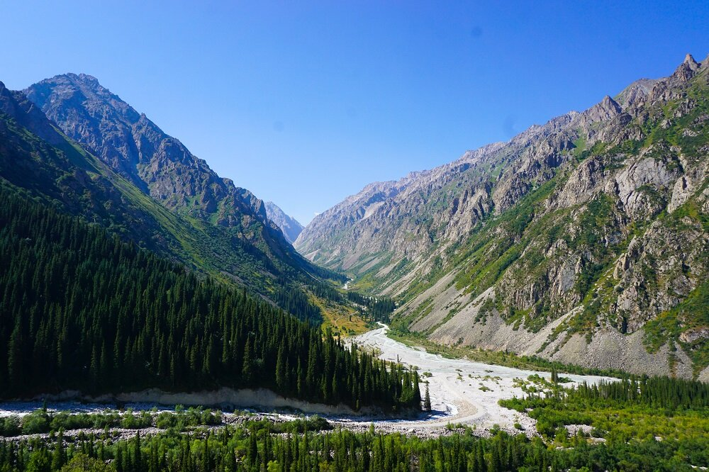 Glacial streams, towering mountains and rows of pine trees at Ala Archa National Park