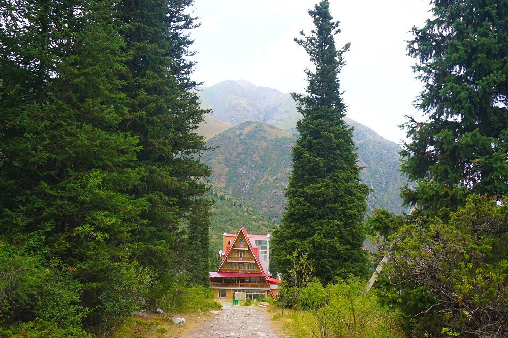 The A-shaped red hut that you're bound to see before you begin your hike at Ala Archa National Park.