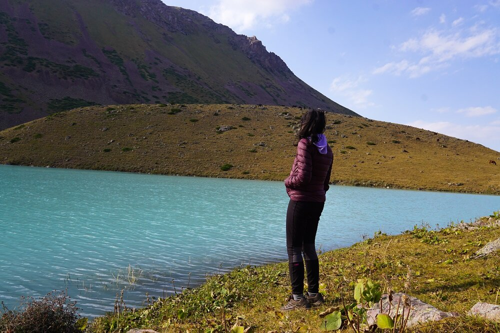 Stopping to stare into nothingness at Kol-Tor Lake.
