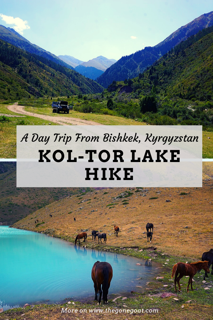 Here's what's it like to trek Kol Tor lake, a day trip hike from Bishkek. You'll find a wild path folded into the crest of Kyrgyzstan's majestic mountains. It kind of felt like we had stumbled into a fantasy land where all our worries and life problems seem to fade away. #travelideas #kyrgyzstan #hiking #trekking #centralasia #outdoors #hikingtrails #traveldestinations #asia