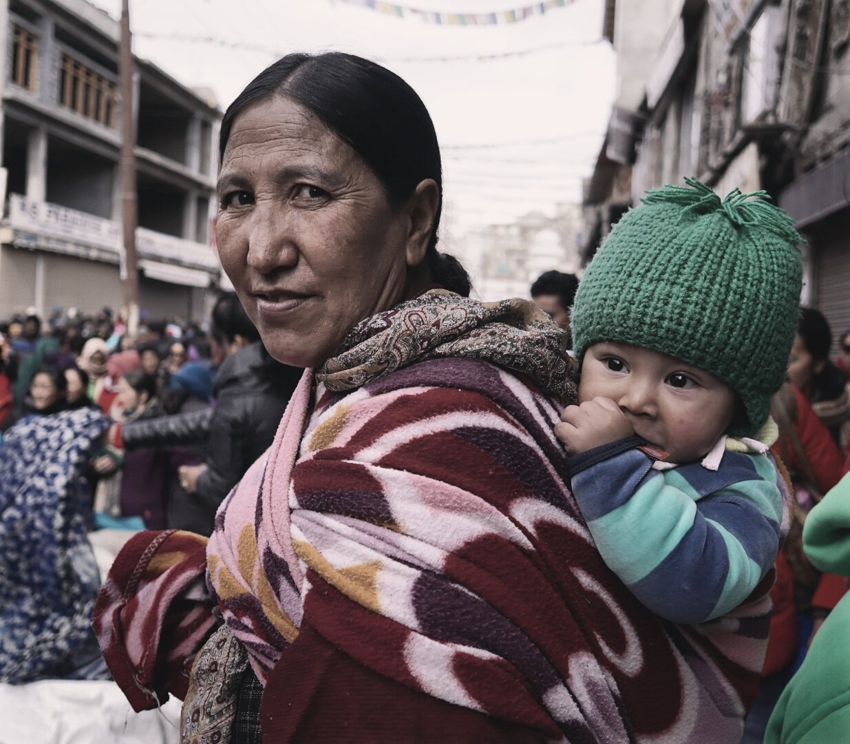 taken using my sigma lens, one of the best prime travel lens with the sony camera. It was shot at a busy market in leh, Ladakh, India.