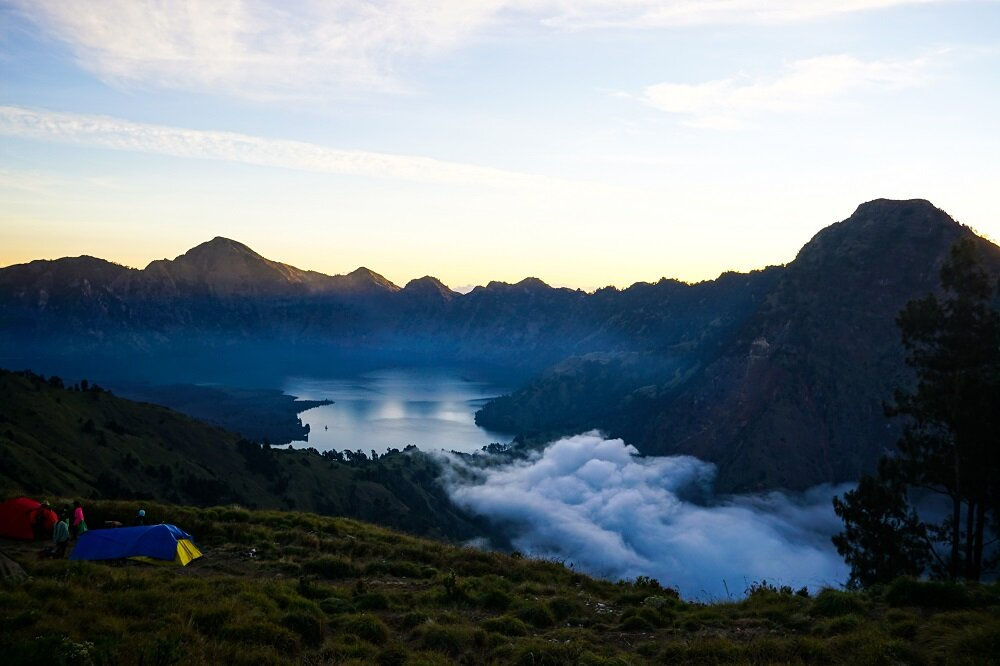 A view of mount rinjani while trekking and camping in the mountains.