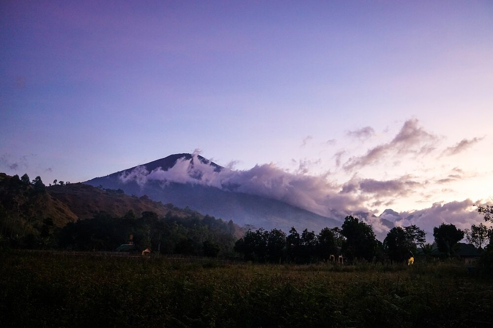 early morning views before heading for a trek to mount rinjani