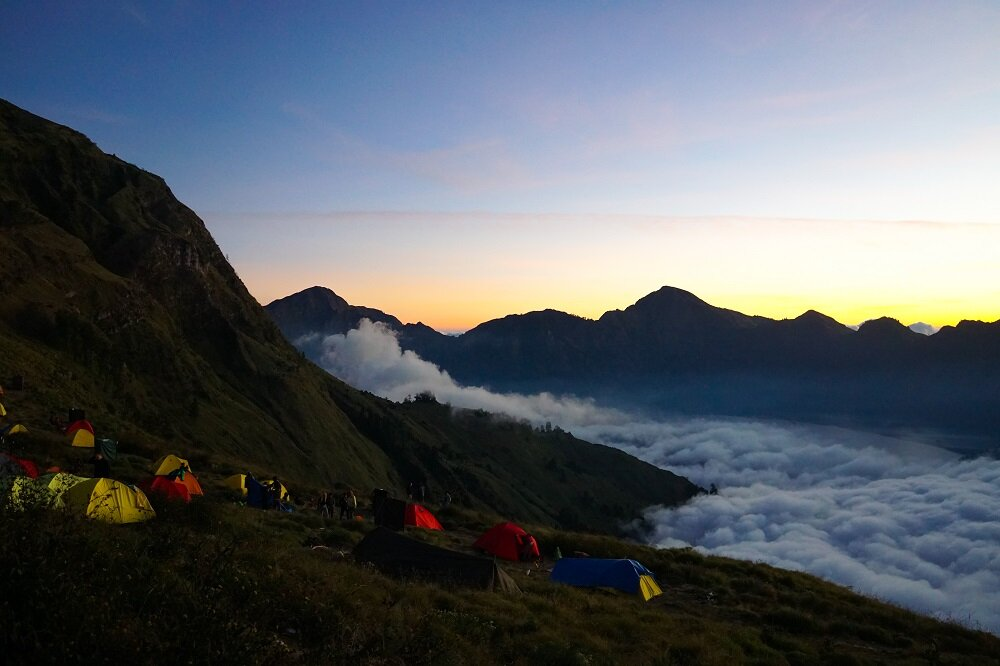 the final summit day to mount rinjani.