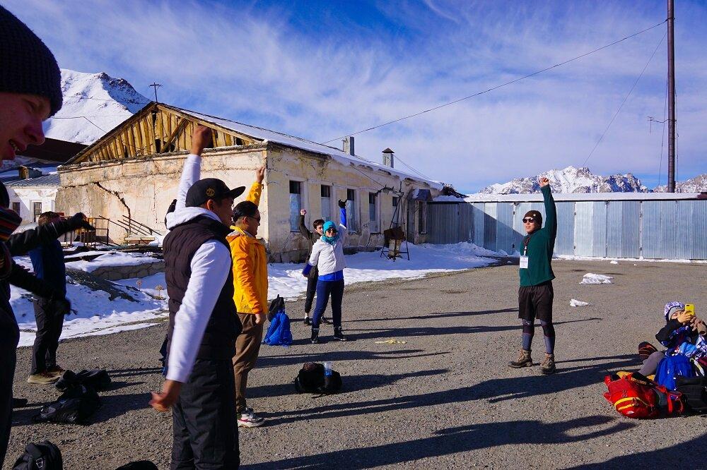 an aerobic activity before we started hiking big almaty peak.