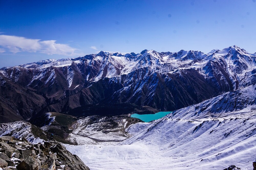 finally a view of big almaty lake from the peak.