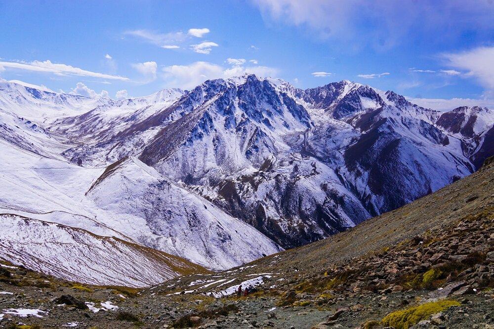 the way down after hiking big almaty peak.