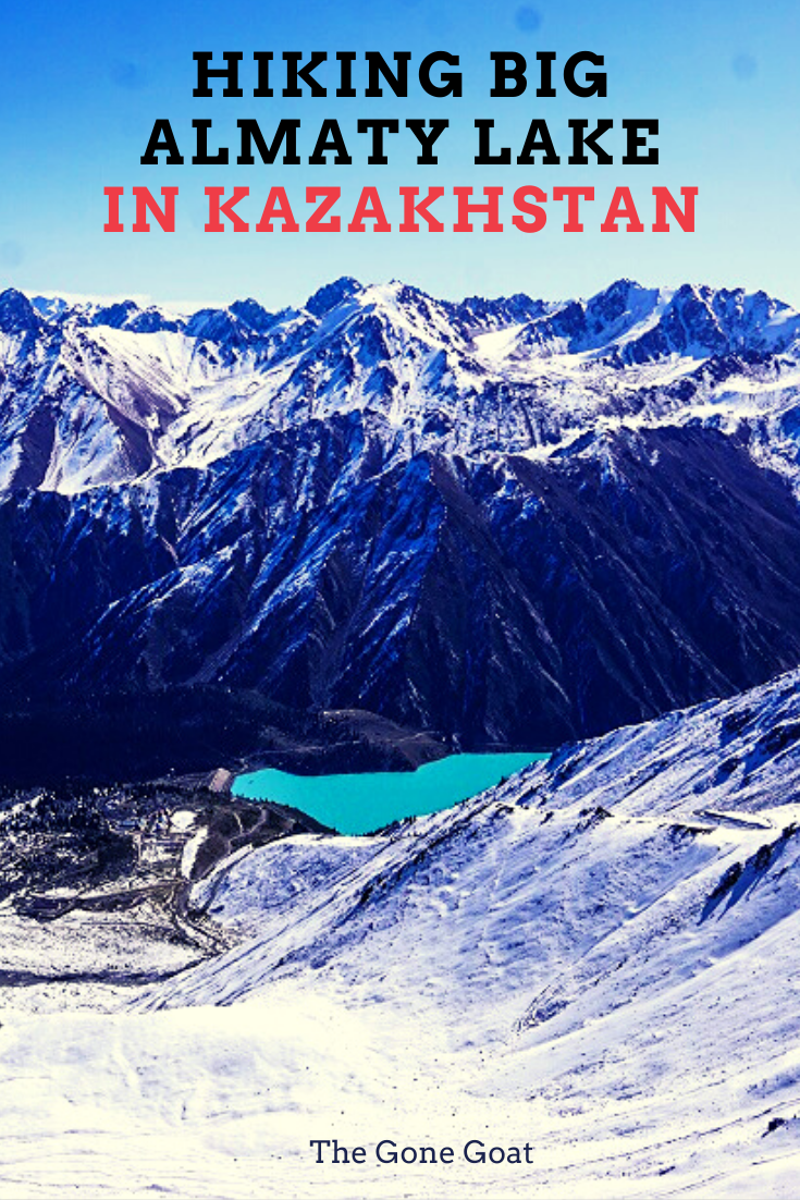 Here's what it is like to hike the Big Almaty Lake Peak on a day trip and the ways to get there. The park is home to snow leopards and the Central Asian lynx. This picturesque turquoise lake, 1.6km long, rests in a rocky bowl at 3,681metres, reflecting the Tian Shan mountains. #centralasia #hiking #hikingtrails #hikingtraveldestinations #kazakhstan #travelideas #inspiration #trekking #asiatravel