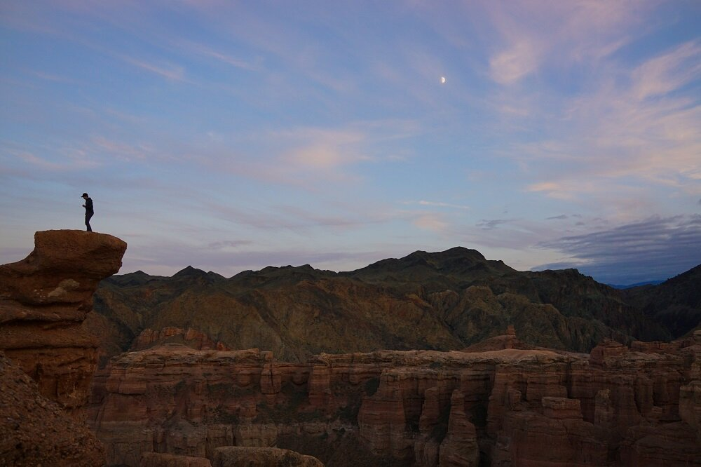 perfectly still moment at sunset in charyn canyon.