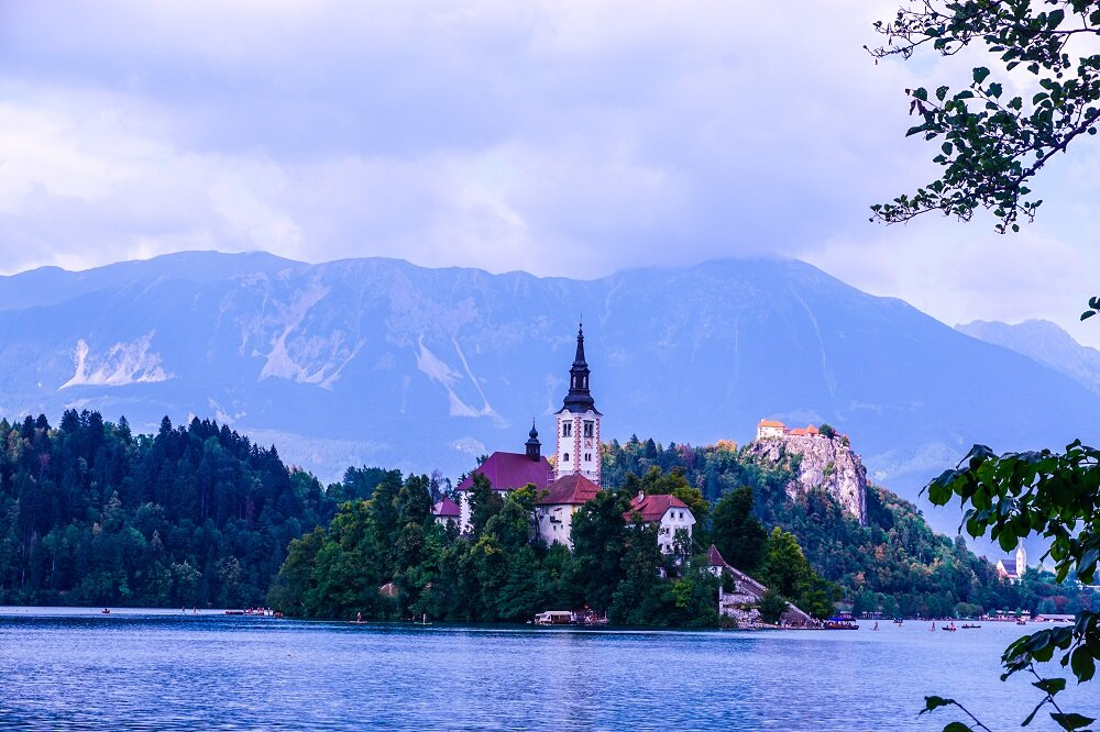 The beauty of Lake bled seen from afar.