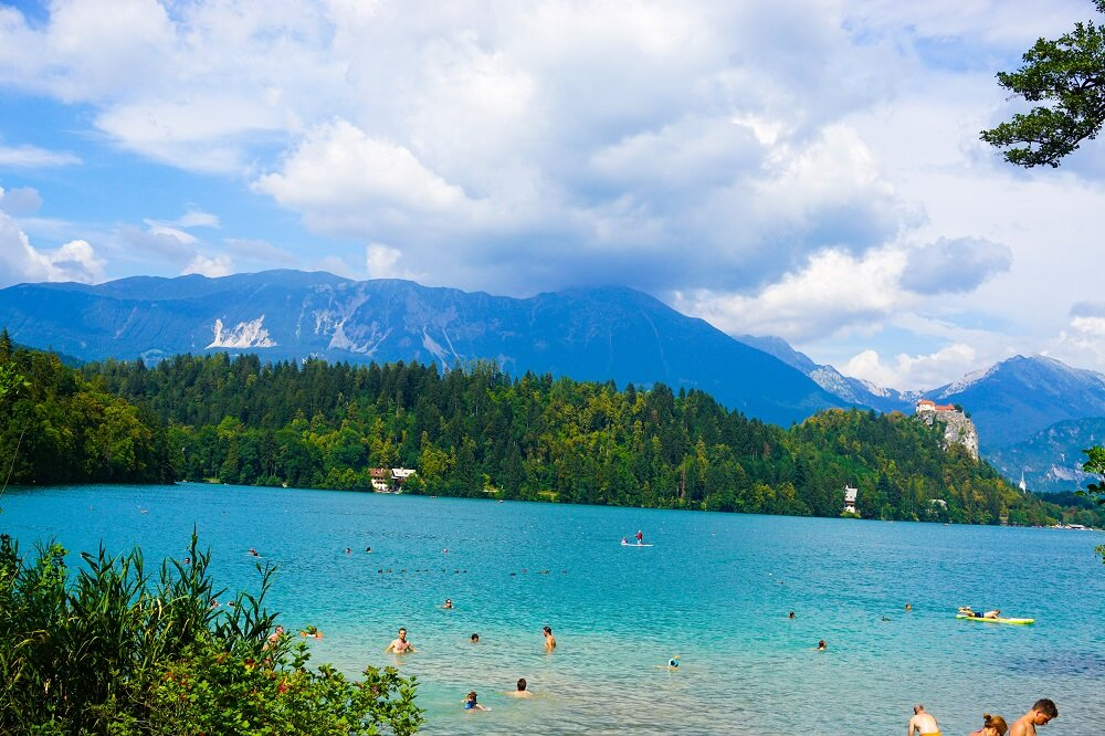 swimming on the other side of lake bled