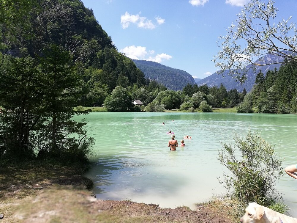 the stunning chalk lake called lake kreda, near lake bled.