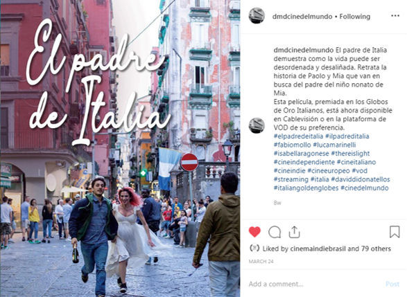 Instagram post of Il padre de Italia on the DMD account aimed at the Spanish speaking territories of Latam