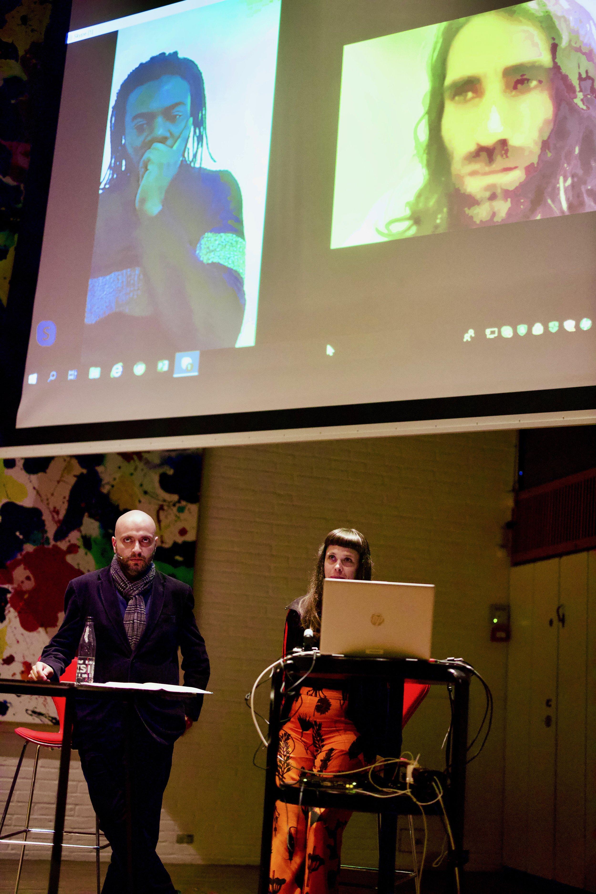 Screen - left: Stanley Edward, right: Behrouz Boochani. Floor - left: Arash Kamali Sarvestani, right: Liv Nimand Duvå