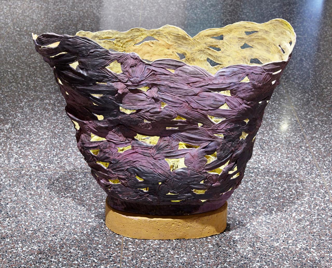 Wet Leaves Mirror the Sun  ceramic sculpture