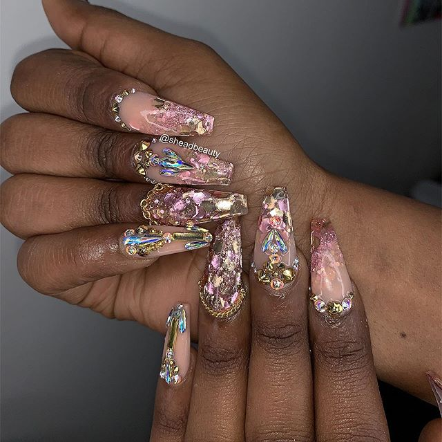 Encapsulated glitter with extra extra bling 💕