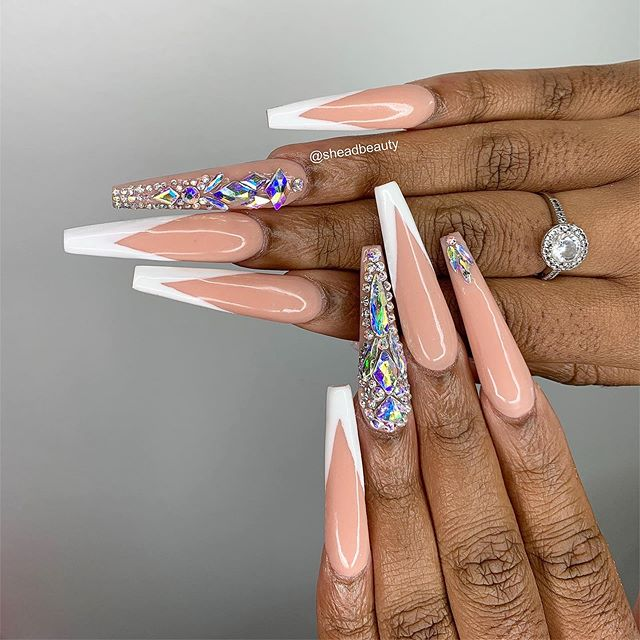 Sculpted super long nails x Swarovski crystals  Nails by Shea & crystals done by Tulip  We are accepting walk ins today!