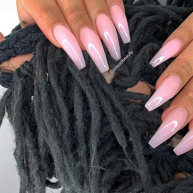 Light pink acrylic colour coffin nails