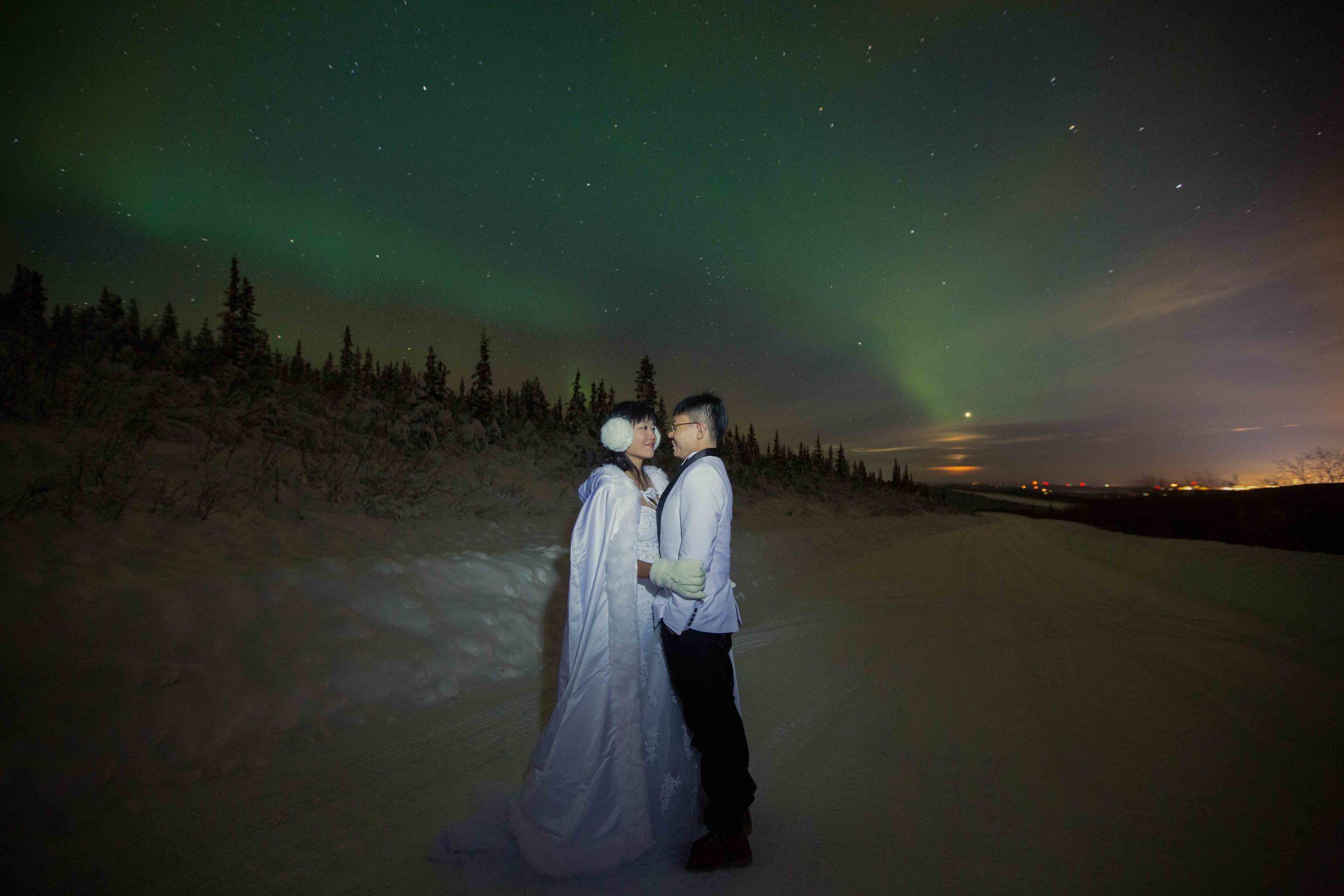Bride and Groom under Northern Lights Fairbanks Alaska 01.jpg