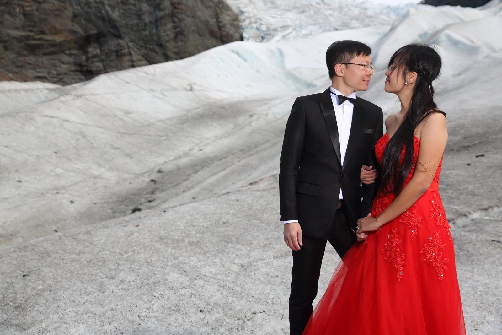 Bride and Groom on a Glacier