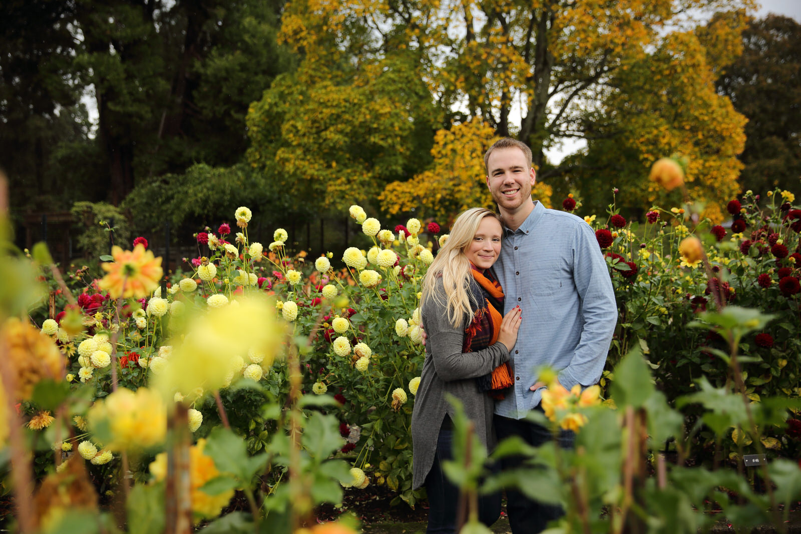 Engagement Photos Point Defiance Rose Garden in Tacoma
