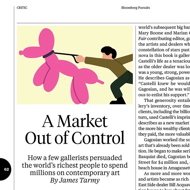 As if by magic, following my last post about not sharing commercial work here...a little illustration for Bloomberg Businessweek which talks about Michael Shnayerson's new book 'Boom: Mad Money, Mega Dealers, and the Rise of Contemporary Art.' 'In 1986, 26 year old Basquiat was earning $1.4mill a year making art. The more money he made, the more paranoid and deeply involved in drugs he became. Less than 2 years later, he died of a heroin overdose.' A market out of control. . . . #illustration #procreate #art #koons #woofwoof