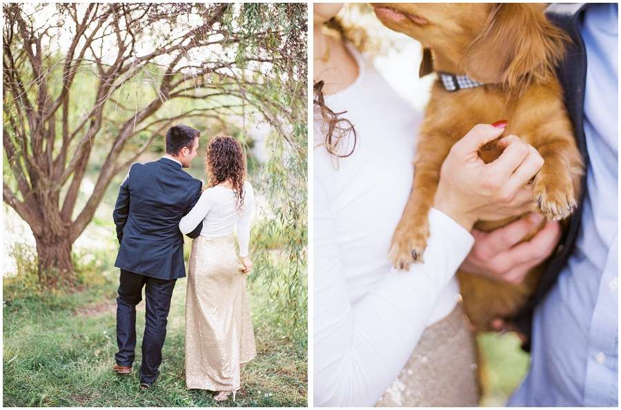 All cuddled up with their pup for their anniversary session!