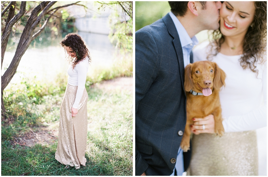 Romantic sequin skirt for a fall anniversary session