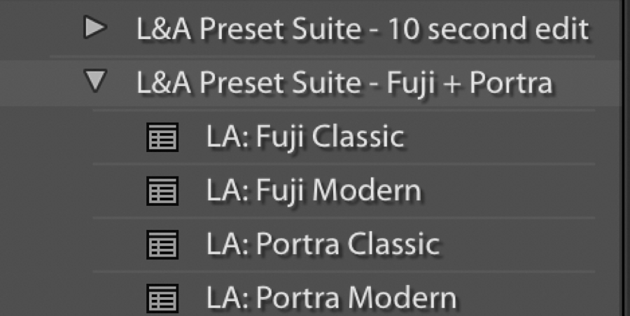 How to organize presets in Lightroom