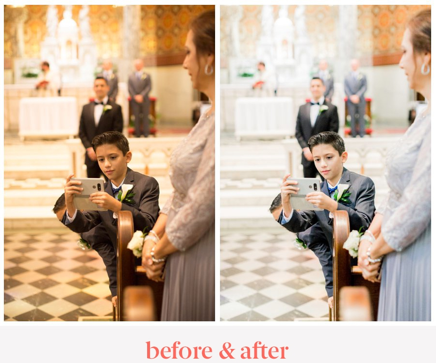 light and airy preset before and after