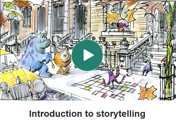 Learn everything about good and bad storytelling from the masters at Pixar Studios. Videos and activities in this Khan Academy lesson prompts users to practice. Pixar in a Box also contains video-related lessons for those who want to implement storytelling in video.