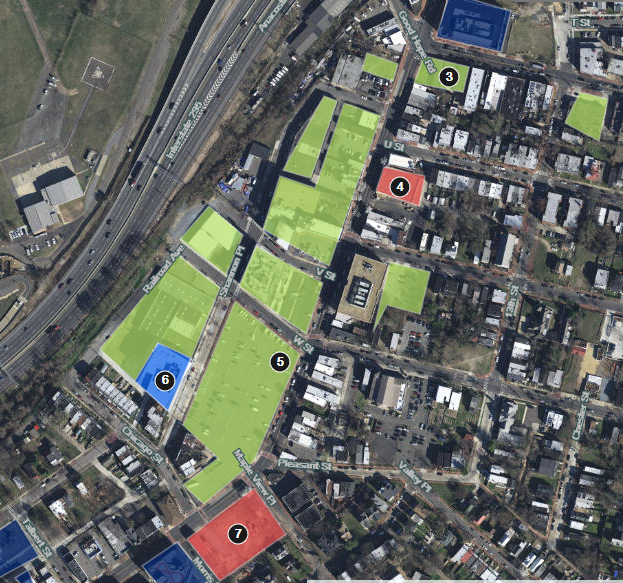Reunion square is comprised of eight lots in green between Railroad ave, SE and Martin Luther king, Jr. Ave, SE, including numbers 5 and 6 (blue). Image:  Washington DC Economic Partnership .