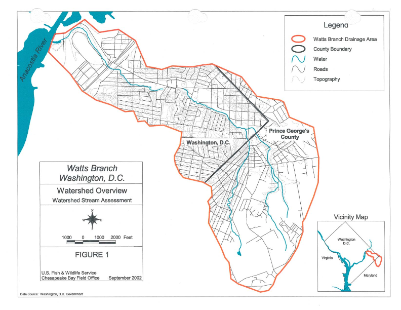 image: US Fish & Wildlife Service,  Watts Branch, Washington, D.C. Watershed and Stream Assessment , p 9