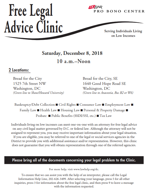 free legal advice clinic flyer. details in the narrative above.