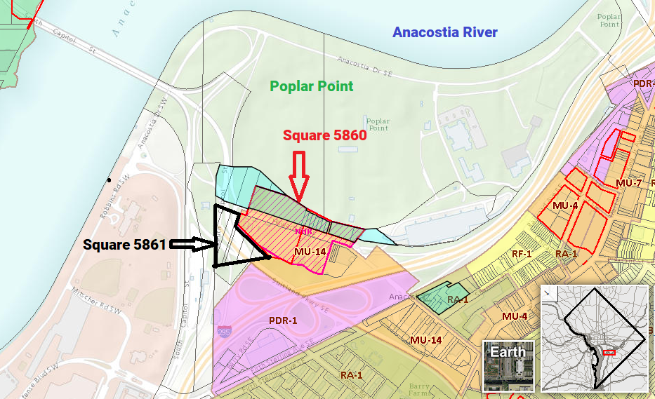 Map indicating Squares 5860 and 5861 as well as Poplar Point and Anacostia River. Image from DC Office of Zoning, official zoning map (screenshot).