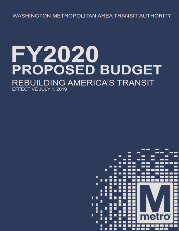 cover of wmata's proposed fy 2020 budget