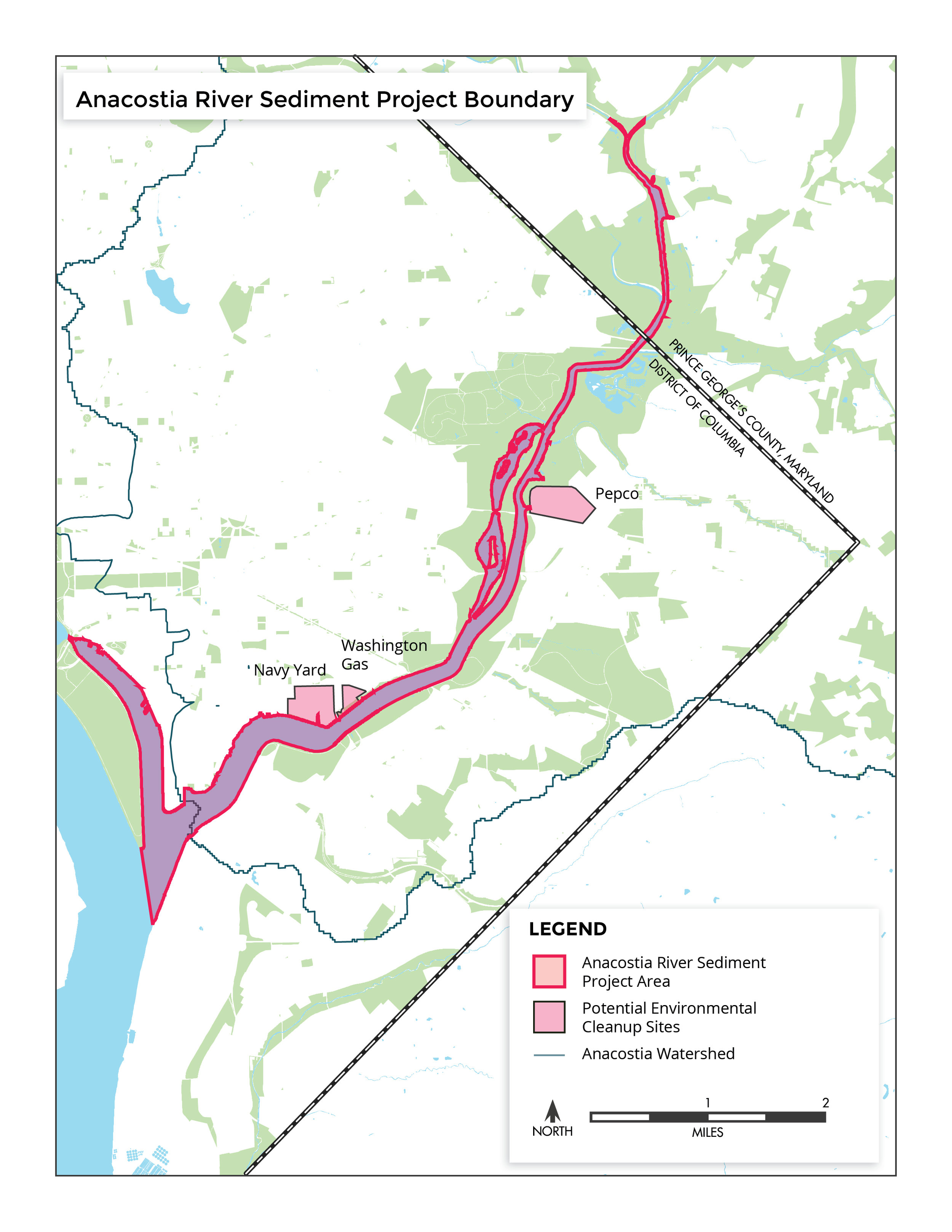 Project area boundary for the Anacostia River Sediment Project.