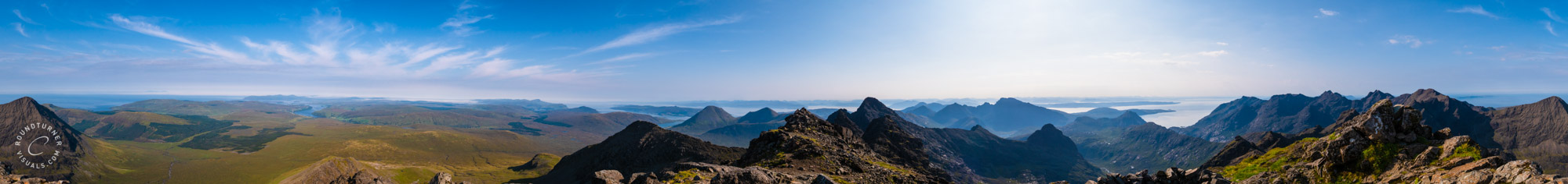 Over 360 degrees panorama from Bruach na Frìthe
