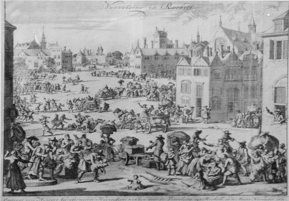 Across much of Northern Europe several religious communities were persecuted during the seventeenth century. Jan Luiken the Dutch artist produced several pictures interpreting the expulsion of Protestant communities in France such as the Expulsion from La Rochelle of 300 Protestant families in November 1661.