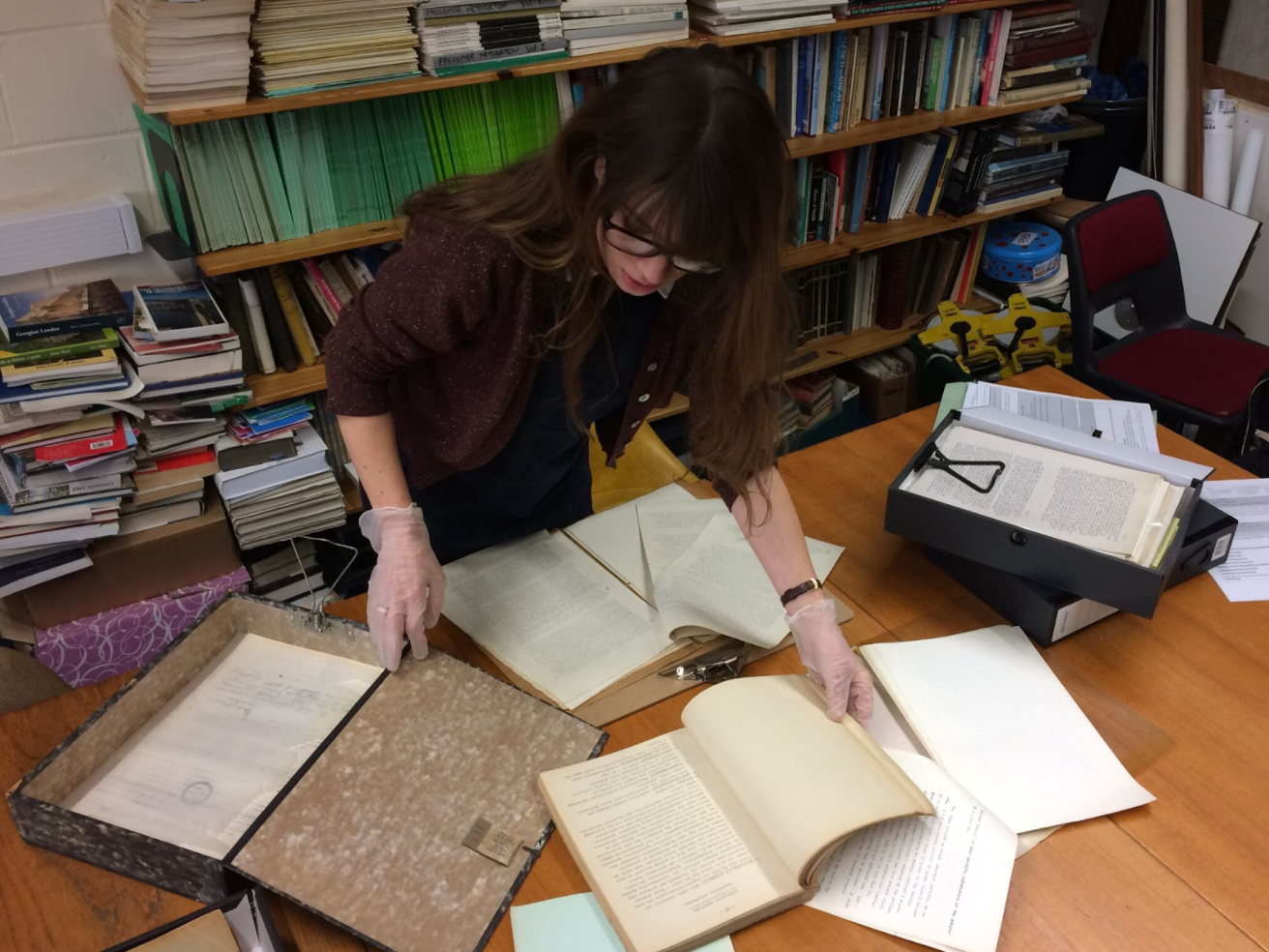 Refugee History Editor Kate Ferguson using the Corsellis archive