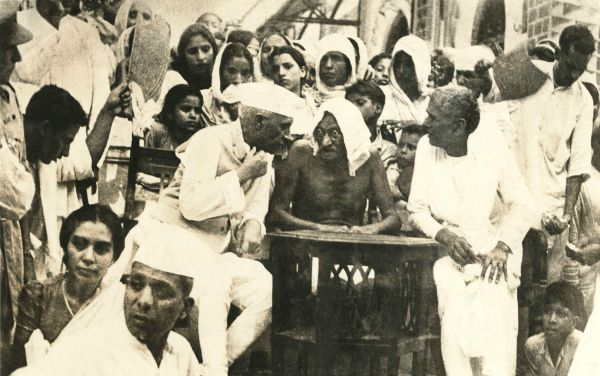 Nehru and Gandhi with those displaced by communal violence in Punjab just before the partition